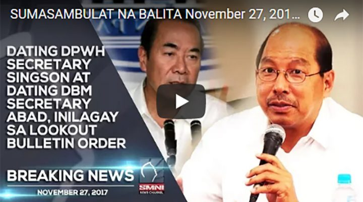 Dating DPWH Sec. Singson at dating DBM Sec. Abad, inilagay sa lookout bulletin order