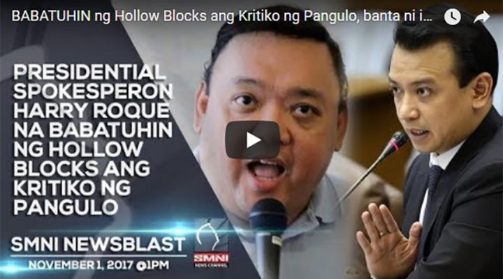 Presidential Spoksperson Harry Roque na babatuhin ng Hallow Blocks ang kritiko ng Pangulo