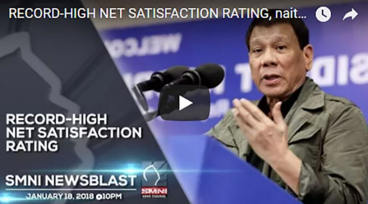 RECORD-HIGH NET SATISFACTION RATING, naitala ng Administrasyong Duterte ayon sa SWS Survey