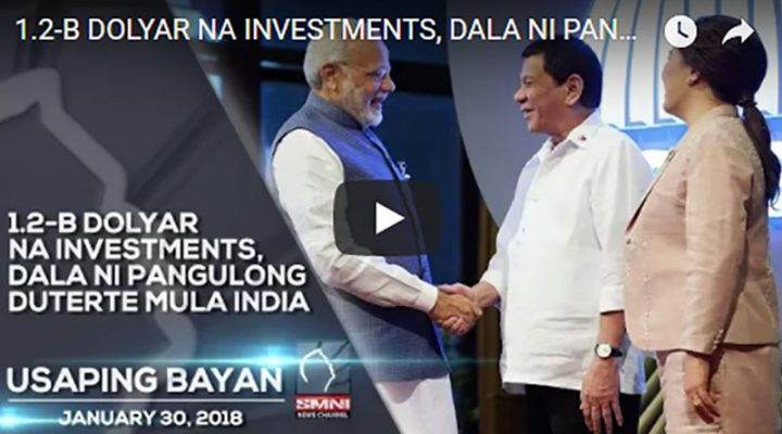 1.2-B Dolyar na Investments, dala ni Pang. Duterte mula India