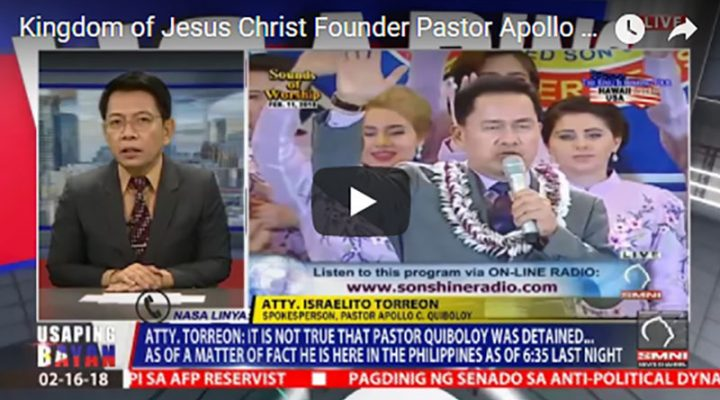 Kingdom of Jesus Christ Founder Pastor Apollo C. Quiboloy was not detained nor charged in Hawaii