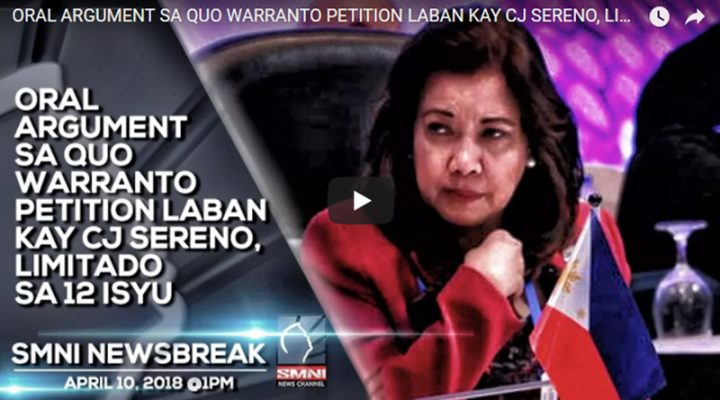 Oral argument sa quo warranto petition laban kay CJ Sereno, limitado sa 12 isyu