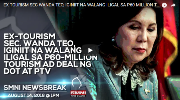 Ex-Tourism Sec. Wanda Teo, iginiit na walang iligal sa P60-Million Tourism ad deal ng DOT at PTV