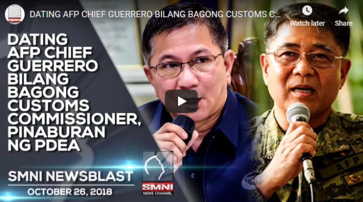 Dating AFP Chief Guerrero bilang bagong Customs Commissioner, pinaburan ng PDEA