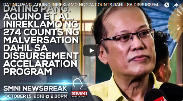 Dating Pang. Aquino ET AL. Inireklamo ng 274 Counts ng Malversation dahil sa Disbursment Accelaration Program