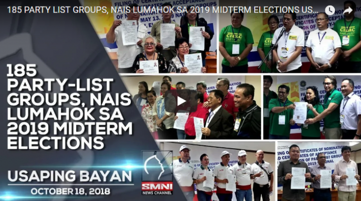 185 Party-list groups, nais lumahok sa 2019 Midterm Elections