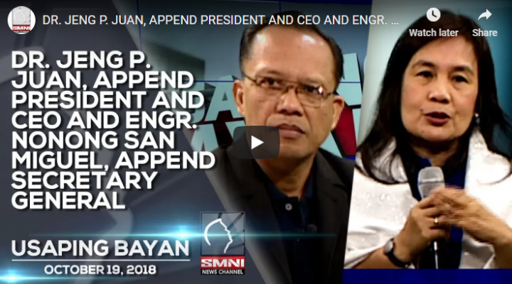 Dr. Jeng P. Juan, Append President and CEO and Engr. Nonong San Miguel, Append Secretary General