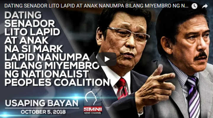 Dating Sen. Lito Lapid at anak na si Mark Lapid nanumpa bilang miyembro ng Nationalist Peoples Coalition