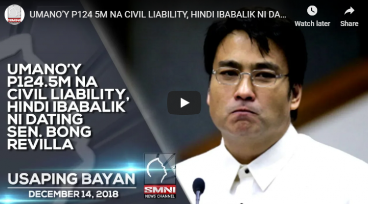 Umano'y ₱124.5M na Civil Liability, hindi ibabalik ni dating Sen. Bong Revilla
