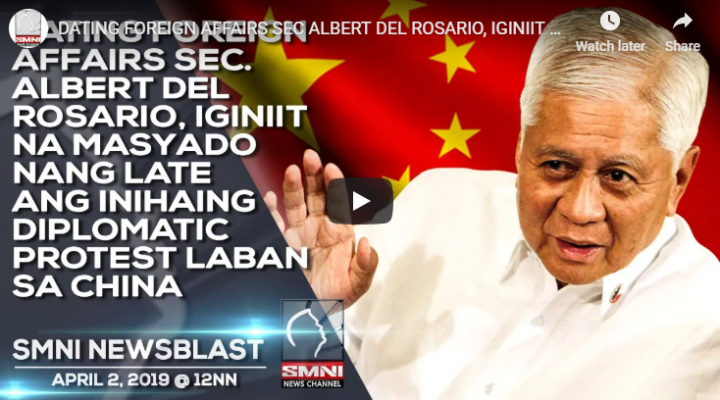 Dating foreign affairs Sec. Albert Del Rosario, iginiit na masyado nang late ang inihaing diplomatic protest laban sa China